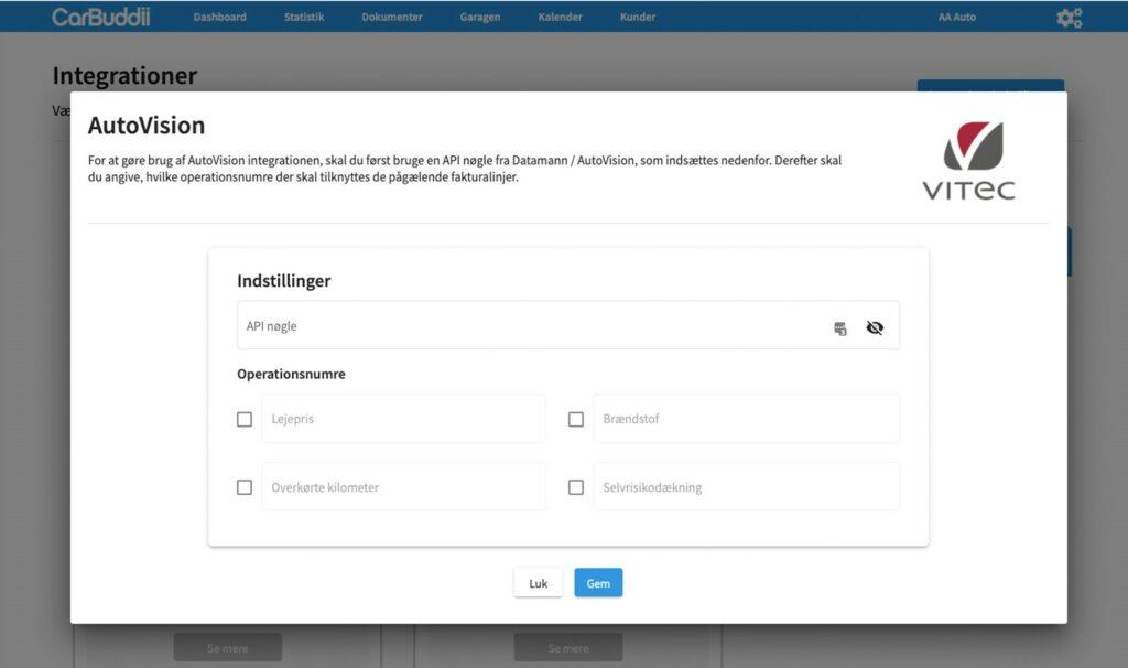 Integrationen mellem CarBuddii og AutoVision kan nemt sættes op på den personlige forhandlerside