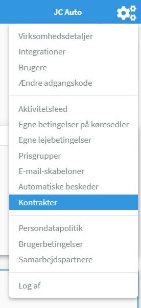 "Nye kategori i menuen ""kontrakter"""